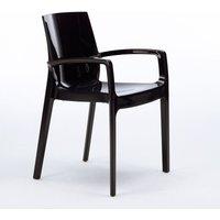 Set of 22 CREAM Dinner Chairs Armrests Polypropylene Indoor Bistro | Black - Grand Soleil