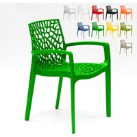 Set of 22 Polypropylene Design Chairs Made in Italy with Armrests for Kitchens Restaurants GRUVYER ARM | Green - GRAND SOLEIL