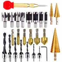 Soekavia - Set of 26 countersunk drills for wooden door and window with 8 wood cutting bits, 7 three-point drills, 6 countersunk drills, 3 cone drills