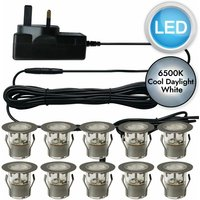 First Choice Lighting - Set of 10 - 30mm Stainless Steel IP67 Cool White LED Plinth Decking Kit