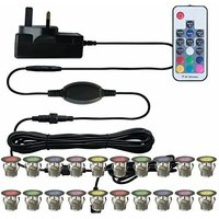 First Choice Lighting - Set of 20 - 30mm Stainless Steel IP67 RGB Colour Changing LED Plinth Decking Kit