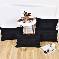 Set of 4 Black Pillow Covers Cotton Linen Throw Pillow Covers Cushion Cover Decorative Pillowcases for Couch Sofa Bed, Black, 12 x 20 Inches