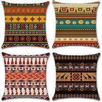 Set of 4 Cotton Linen Ethnic Style Decorative Pillow Case Decoration for Sofa Bedroom Home 45 x 45 cm