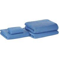 Beliani - Set of 4 Cotton Bathroom Towels Zero Low Twist with Bath Mat Blue Areora