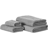 Set of 4 Cotton Bathroom Towels Zero Low Twist with Bath Mat Grey Areora