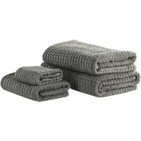 Beliani - Set of 4 Cotton Bathroom Towels Soft Low Twist with Bath Mat Grey Atai