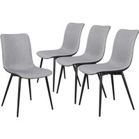 Set of 4 Fabric Dining Chairs Upholstered Breathable Cushion Side Chairs with Black Metal Legs Home/Kitchen/Cafe Gray - YAHEETECH