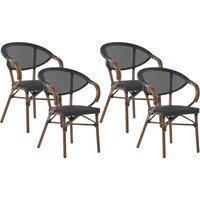 Beliani - Set of 4 Garden Chairs Dark Wood and Black CASPRI