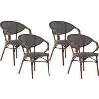 Beliani - Set of 4 Garden Chairs Dark Wood and Grey CASPRI