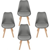 Set of 4 Nordic style minimalist chairs , Dining chair , dark gray - DAZHOM