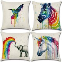 Perle Raregb - Set of 4- Pillowcases Polyester Linen Throw Pillowcases Car Cushion Cover for Sofa Bed Home Decor Set, 45x45cm (Rainbow Animal)