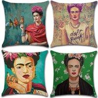 Set of 4- Pillowcases Polyester Linen Throw Pillowcases Car Cushion Cover for Sofa Bed Home Decor Set, 45x45cm (Woman Self Portrait)