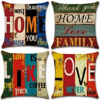 Perle Raregb - Set of 4- Polyester Linen Pillowcases Throw Pillowcases Car Cushion Cover for Sofa Bed Home Decor Set, 45x45cm (Home / Love)