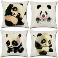 Set of 4- Polyester Linen Pillowcases Throw Pillowcases Car Cushion Cover for Sofa Bed Home Decor Set, 45x45cm (Panda)