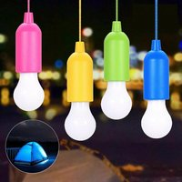 Briday - Set of 4 Portable LED Camping Lights With Pull Switch - White LED Bulbs - Mobile Light for Garden, Balcony, Wardrobe, Tent, Fishing, Party
