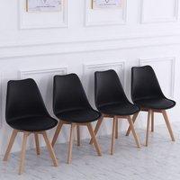 Set of 4 Modern Plastic Dining Chairs, Black