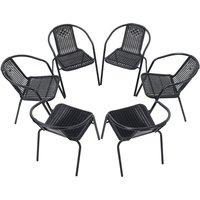 Set of 6 Black Garden Patio Metal Wicker Chairs