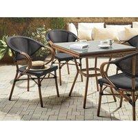 Beliani - Set of 6 Garden Chairs Dark Wood and Black CASPRI