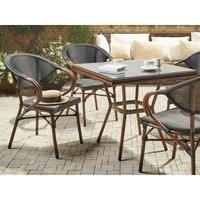 Beliani - Set of 6 Garden Chairs Dark Wood and Grey CASPRI