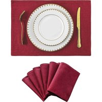 Bearsu - Set of 6 Placemats Dark Red Heat Resistant Dining Table Place Mats Machine Washable Kitchen Table Mats, 13x19 inch, Burgundy