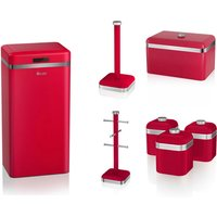 Set of 7 Swan RED Kitchen Retro Set - BreadBin, RED 45L Sensor Bin