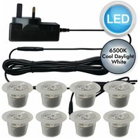 Set of 8 - 30mm Polycarbonate IP67 Cool White LED Plinth Decking Kit - FIRST CHOICE LIGHTING