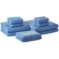 Beliani - Set of 9 Cotton Bathroom Towels Zero Low Twist with Bath Mat Blue Areora