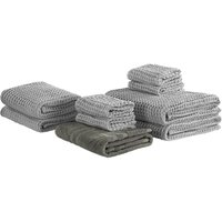 Beliani - Set of 9 Cotton Bathroom Towels Zero Low Twist with Bath Mat Grey Areora