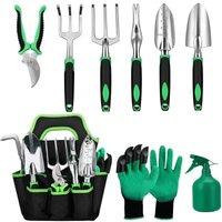 Set of garden tools, 9-room aluminum garden tools with garden bag, garden grooming gloves, brushcutter, garden shovel, garden gifts for men women