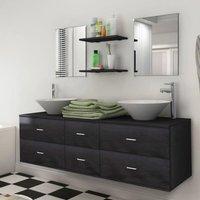 Zqyrlar - Seven Piece Bathroom Furniture and Basin Set Black - Black