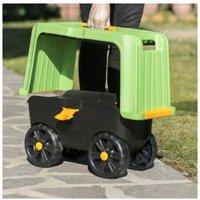 Eacommerce - Sgabello Contenitore Carrello Multiuso Magic Green 4 in 1 con ruote 59x23x30H cm