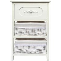 Shabby Chic White 3 Chest of Drawer Hallway Bathroom Bedside Table Unit Cabinet [Wider Unit 36x30x60cm] - TOPFURNISHING