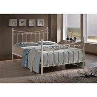 Shell Detailed Ivory Metal Bed Frame - Double 4ft 6