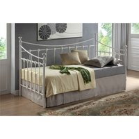 Shell Detailed Ivory Metal Day Bed Frame - Single 3ft