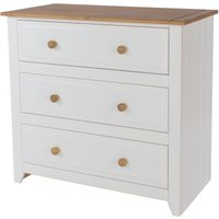 Netfurniture - Shelton Pine And White 3 Drawer Wide Chest