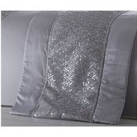 Shimmer Silver Runner Diamante Quilted Bed Throw 50x220cm - BEDMAKER