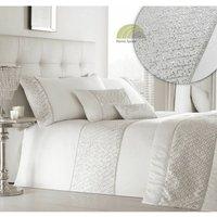 Shimmer White King Size Duvet Cover Set Diamante Bedding Bed Set