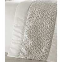 Shimmer White Runner Diamante Quilted Bed Throw 50x220cm