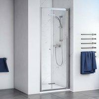 Shine 6 Bi-Fold Shower Door 800mm Wide Silver Frame - Clear Glass - Aqualux