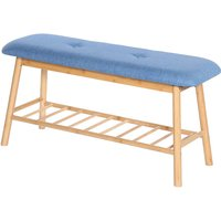Shoe Bench with Padded Cushion Bench with Shoe Storage Shelf Hallway Entrance Blue - OOBEST