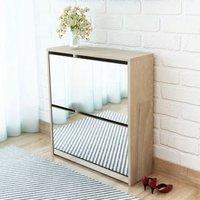 Shoe Cabinet 2-Layer Mirror Oak 63x17x67 cm - ASUPERMALL