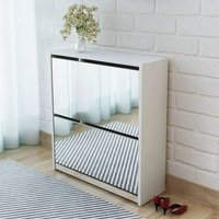 Asupermall - Shoe Cabinet 2-Layer Mirror White 63x17x67 cm