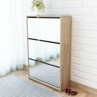 Shoe Cabinet 3-Layer Mirror Oak 63x17x102.5 cm - YOUTHUP