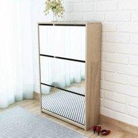 Shoe Cabinet 3-Layer Mirror Oak 63x17x102.5 cm - ASUPERMALL