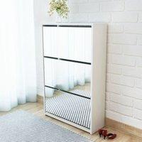 Zqyrlar - Shoe Cabinet 3-Layer Mirror White 63x17x102.5 cm - White