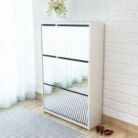 Shoe Cabinet 3-Layer Mirror White 63x17x102.5 cm