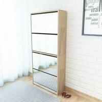 Youthup - Shoe Cabinet 4-Layer Mirror Oak 63x17x134 cm