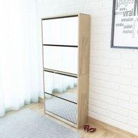 Zqyrlar - Shoe Cabinet 4-Layer Mirror Oak 63x17x134 cm - Brown