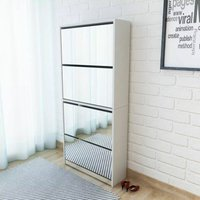 Shoe Cabinet 4-Layer Mirror White 63x17x134 cm - YOUTHUP