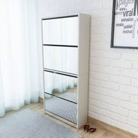 Shoe Cabinet 4-Layer Mirror White 63x17x134 cm - ASUPERMALL